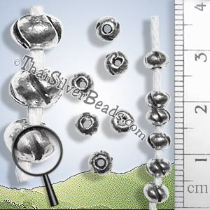 27 - 28 inch - Donut Silver Bead With Slits Strand - Approx 250 Beads - FULLBCUS015_1